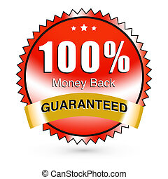 Money back guaranteed sticker with a nice red gradient