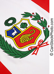 Detail on the flag of Peru - The national flag of Peru was...