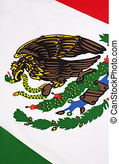 Detail on the flag of Mexico - Detail of the insignia of the...