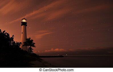 Light Stars - Cape Florida Lighthouse near Key Biscayne,...