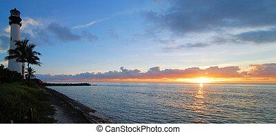 Cape Florida Panorama - Cape Florida Lighthouse near Key...