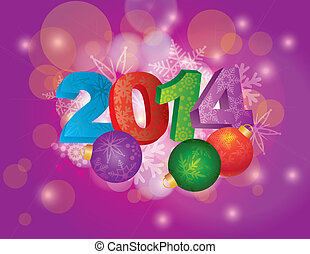 2014 New Year with Snowflakes and Ornaments