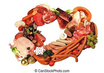 Fleisch, UND, Wurst, zum, Fest