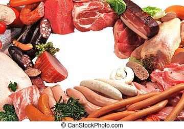 Fleisch und Wurst - Fleisch- und Wurstwaren mit Textfreiraum...