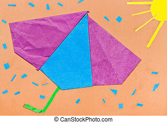 children applique - umbrella and sunshower over sunbeams