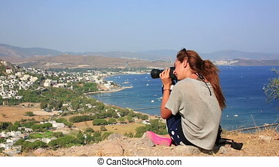 girl taking picture in bodrum - tourit girl taking picture...
