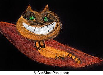 children drawing - smiling cat on flying carpet