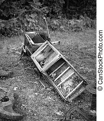 Old Mining Sluice Box, B&W - Antique abandoned sluice box...