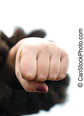 Aggressive fist of woman, a small DOF
