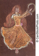 children drawing - dance with tambourine - children drawing...