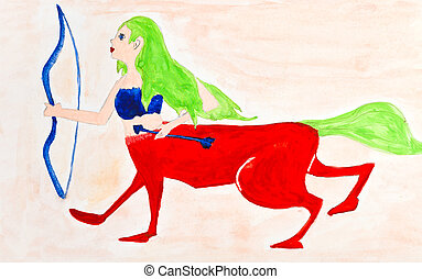 children drawing - female centaur with bow and arrow