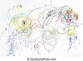 children drawing - chaos in family upbringing