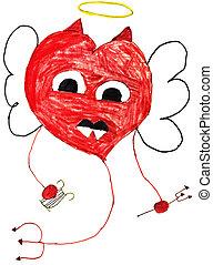 crianças, desenho, -, voando, Coração