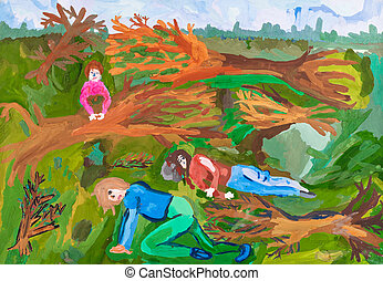 children drawing - after windstorm in forest - children...