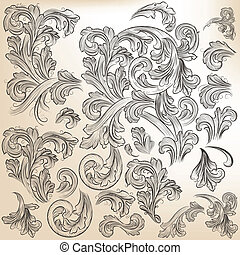 Collection of vector floral decorat - Vector set of...