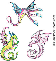 three mythic dragons - Three mythic dragons. Set of color...