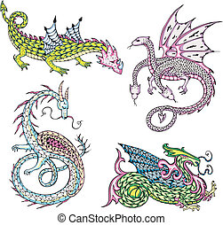 mythic dragons - Four mythic dragons Set of color vector...