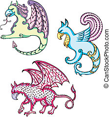 mythic griffins - Three mythic griffins. Set of color vector...