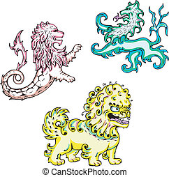 mythic lions - Three mythic lions. Set of color vector...
