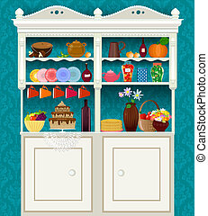 retro vintage sideboard with dishes and food