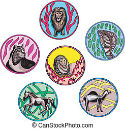 round designs with miscellaneous animals