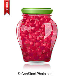 Glass jar of preserved cherries