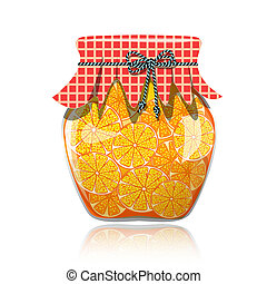 Glass jar of preserved orange jam