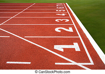 Running track with number 1-8, texture for background.