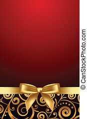 luxury frame with gold ribbon - Vector red and luxury frame...