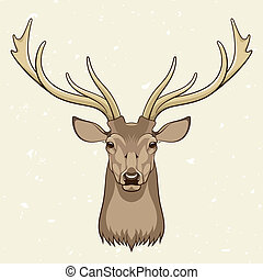 Deer head, vector illustration