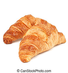 croissant - Two fresh tasty croissants isolated on white