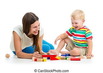 孩子, 玩, 母親, 一起, 玩具