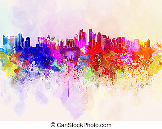 Doha skyline in watercolor background