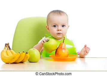 bebé, comida, sano, sólido, alimento, frutas
