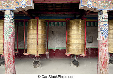 Temples, prayer wheel