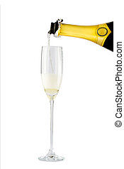 Champagne flow in glass