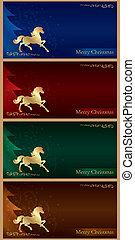 fondo, cavallo, silhouette, Natale, albero, vendemmia, set