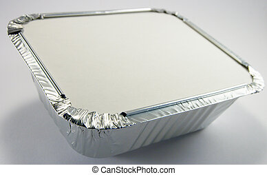 Foil Tray with Lid - Square silver foil tray with lid on a...
