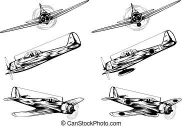 airplane - Vector illustration of old military planes and...