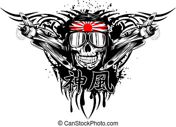 kamikaze in helmet - Vector illustration of skull of...