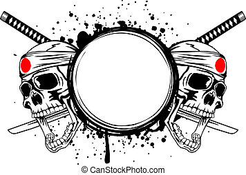 Skull kamikaze - Two skulls with bandage on head hachimaki,...