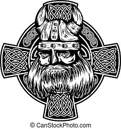 viking and celtic cross - Vector illustration viking and...