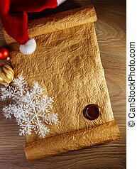Letter for Santa with christmas hat on wood background
