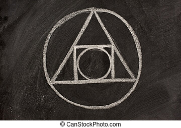 alchemy symbol on a blackboard - 17th century alchemy symbol...