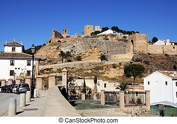 Castle on hill, Antequera, Spain - View of the castle from...