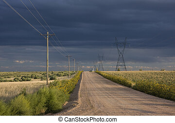 dirt road in eastern Colorado prairie - typical dirt road in...