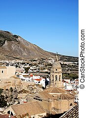 Church and town, Loca, Spain. - View of the town and church,...