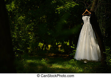 Wedding dress hanged in a tree, nature