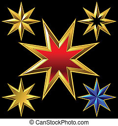 Vector set of golden shiny eight-pointed stars - volume...