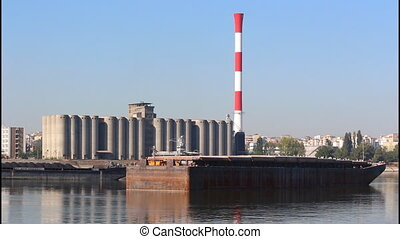 River, barge - River silos, barge, chimney